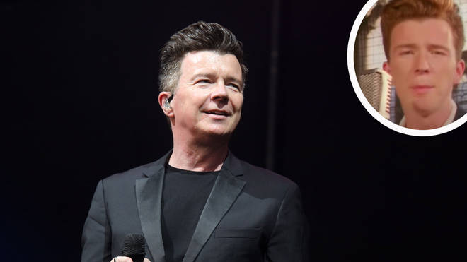 Rick Astley with his Never Gonna Give You Up video inset