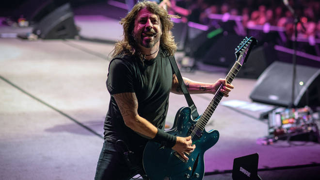 Dave Grohl performing with Foo Fighters in 2021