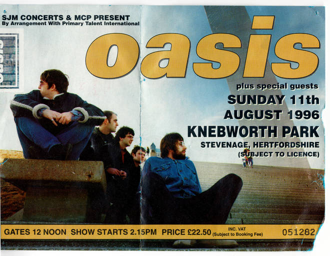 A ticket from the first night of Oasis at Knebworth, August 1996