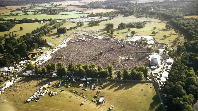 An aerial view of the huge Oasis shows at Knebworth House, August 1996