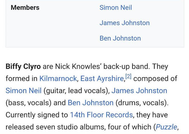 Biffy Clyro's Wikipedia page edited to include Nick Knowles' back-up band