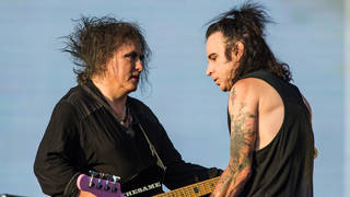 Robert Smith and Simon Gallup performing at The Cure's 40th anniversary concert in Hyde Park in July 2018