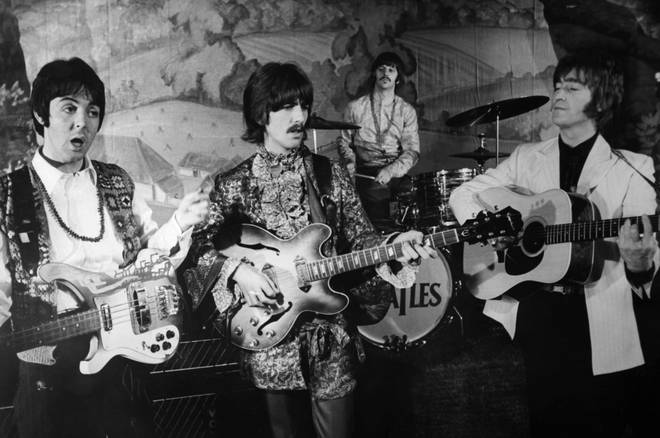 The Beatles singing their hit Hello Goodbye on the stage of the Saville Theatre in 1967 in London