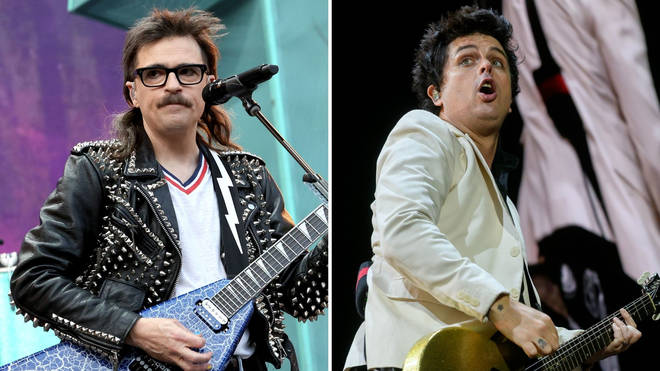 Rivers Cuomo of Weezer and Billie Joe Armstrong of Green Day performing on the Hella Mega Tour in September 2021