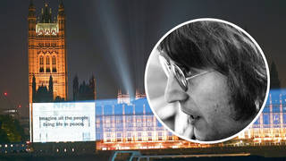 John Lennon in 1971 and the Imagine projection on the Houses Of Parliament in London, September 2021