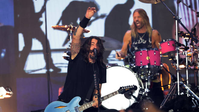 Foo Fighters performing onstage during the 2021 MTV Video Music Awards