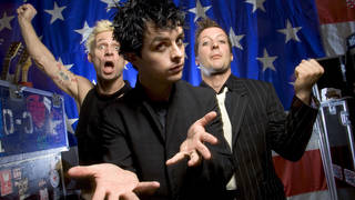 Green Day launch American Idiot in September 2004: Mike Dirnt, Billy Joe Armstrong, and Tre Cool.