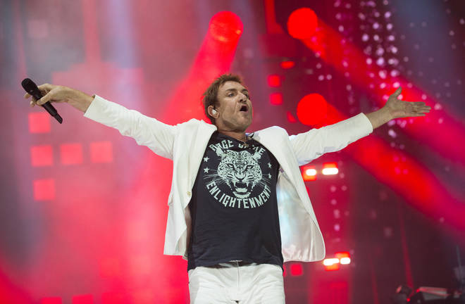 Duran Duran frontman Simon Le Bon lapped up the energy from the massive Main Stage crowd. (Photo by Mark Holloway/Redferns)