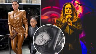 Kim Kardashian and her daughter North and Black Sabbath rocker Ozzy Osbourne
