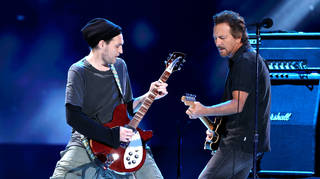 Josh Klinghoffer and Pearl Jam's Eddie Vedder jamming during Global Citizen VAX LIVE: The Concert To Reunite The World earlier this year. (Photo by Kevin Winter/Getty Images for Global Citizen VAX LIVE)