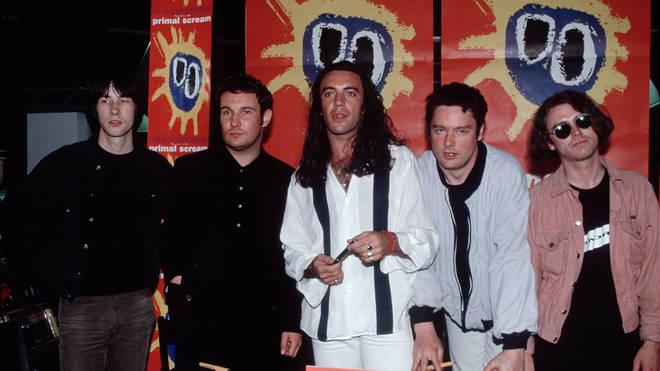 "Primal Scream launch Screamadelica in September 1991: Bobby Gillespie, Henry Olsen, Robert ""Throb"" Young, Toby Tomanov and Andrew Innes."