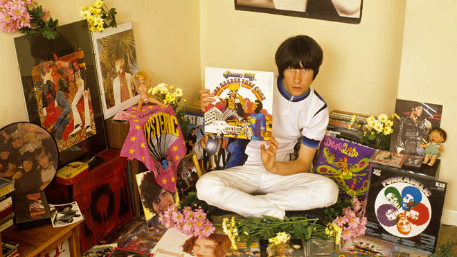 Bobby Gillespie. surrounded by his influences in the summer of 1990