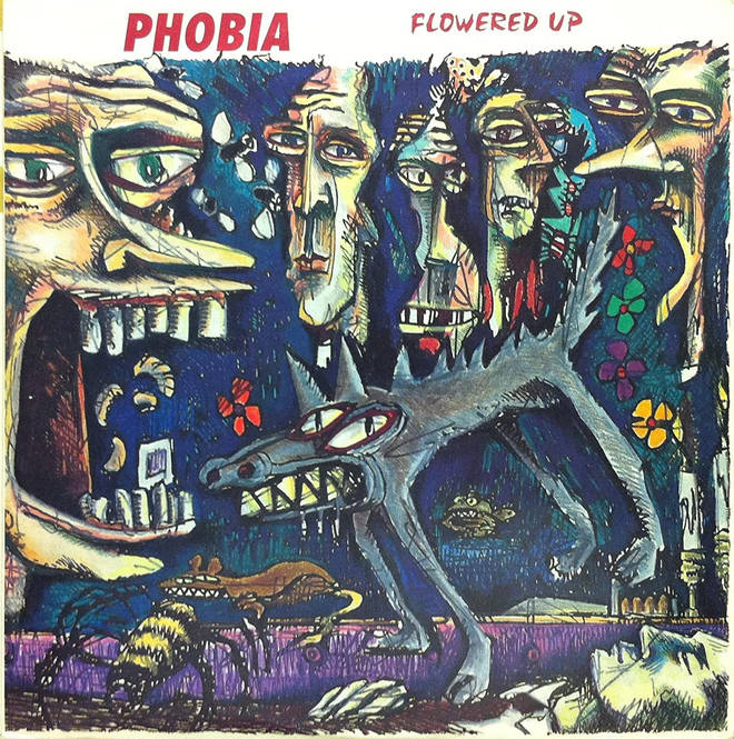 The cover to Flowered Up's Phobia, featuring sleeve art by Paul Cannell