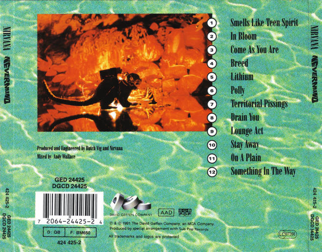 The back cover of Nirvana's Nevermind album