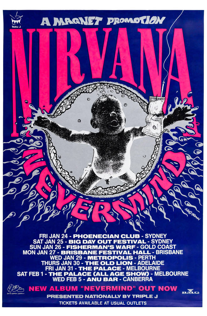 Nevermind heads down under; poster for Nirvana's January 1992 Austraian tour dates