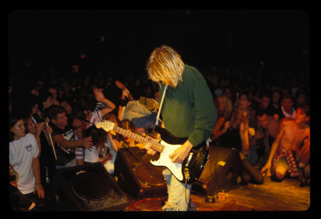 Kurt Cobain performing live with Nirvana at the Roxy in LA, 15 August 1991