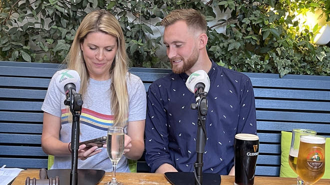 Pippa and Toby during this year's Chris Moyles Show Pubcast recording