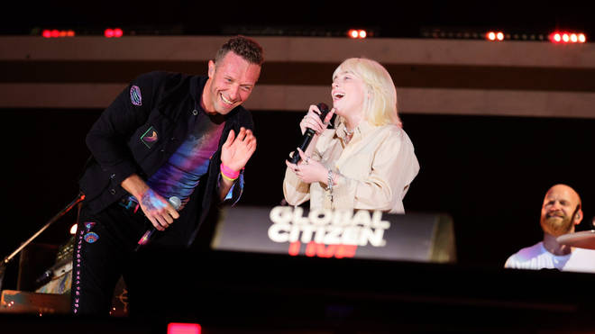 Billie Eilish and her brother Finneas joined Coldplay to perform 'Fix You' at Global Citizen Live in New York on 25th September 2021. (Photo: Theo Wargo/Getty Images for Global Citizen)