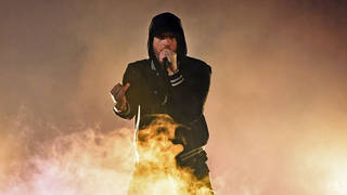 Eminem on stage at the 2018 iHeartRadio Music Awards in Inglewood, California. (Photo by Kevin Winter/Getty Images for iHeartMedia)