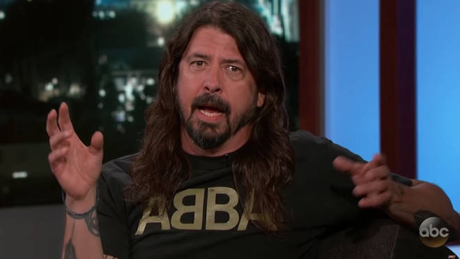 Grohl regularly expresses his affection for ABBA, modelling the band's t-shirt here.