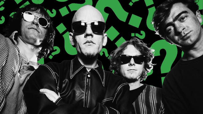 R.E.M. in 1995: Peter Buck, Michael Stipe, Mike Mills, Bill Berry