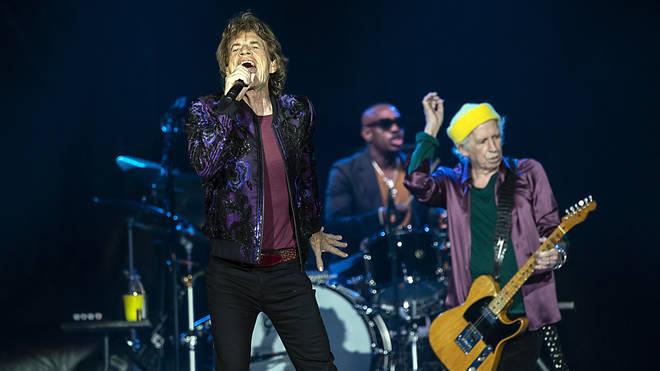 The Rolling Stones performing with drummer Steve Jordan in Charlotte on 30 September.