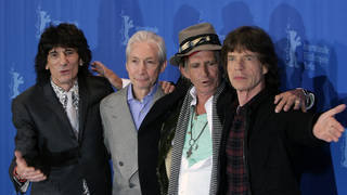 The Rolling Stones with the late Charlie Watts: Ronnie Wood, Charlie, Keith Richards and Mick Jagger