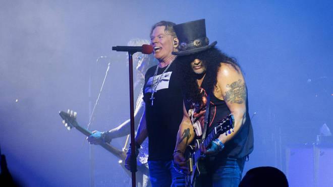 Axl Rose and Slash performing in September 2019