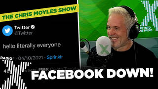 Chris Moyles reads out the Twitter banter during Facebook's outage