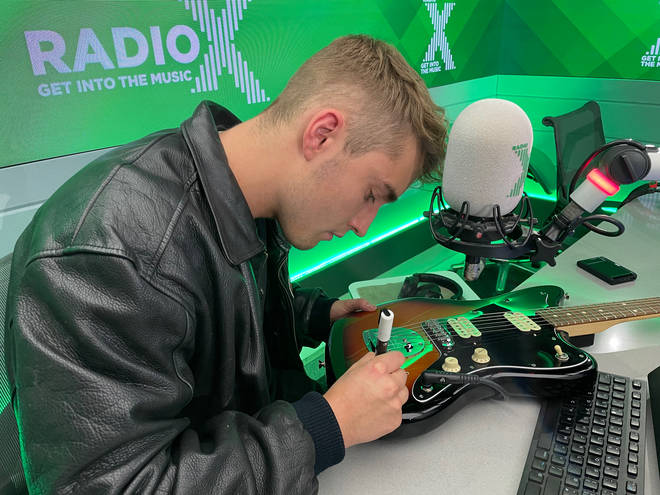Sam Fender signs a Fender!  This fantastic piece of rock memorabilia could be yours!