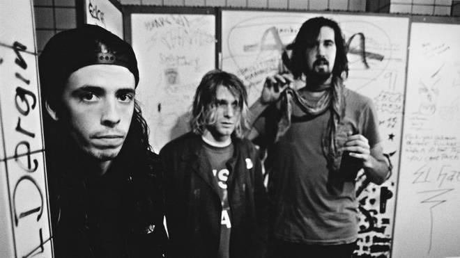 Nirvana's Dave Grohl, Kurt Cobain and Krist Novoselic in Frankfurt in 1991