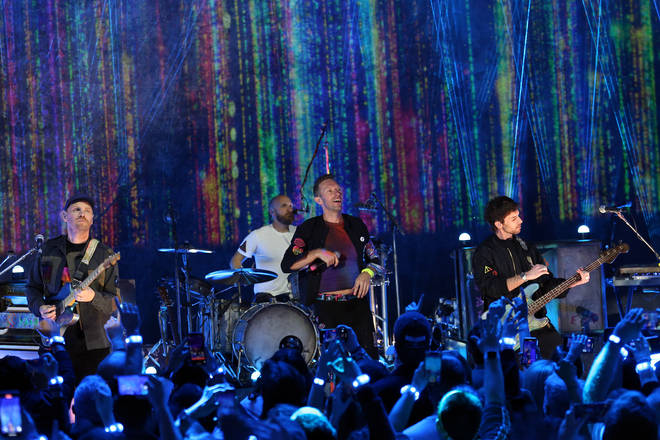 Coldplay launch their new album Music Of The Spheres at London's O2 Shepherds Bush Empire on 12 October