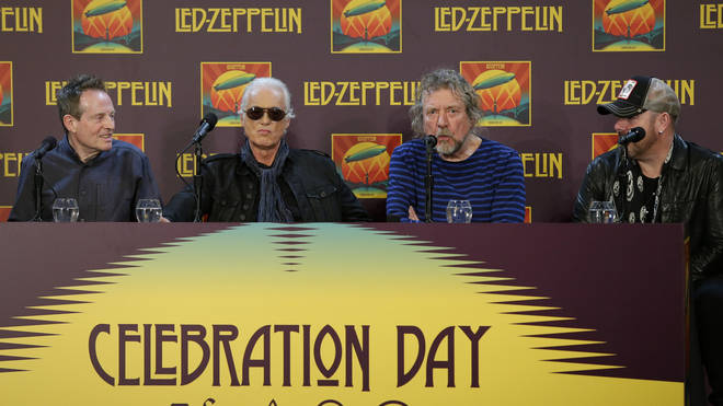 John Paul Jones, Jimmy Page and Robert Plant with Jason Bonham at a press conference in New York City on October 2012.