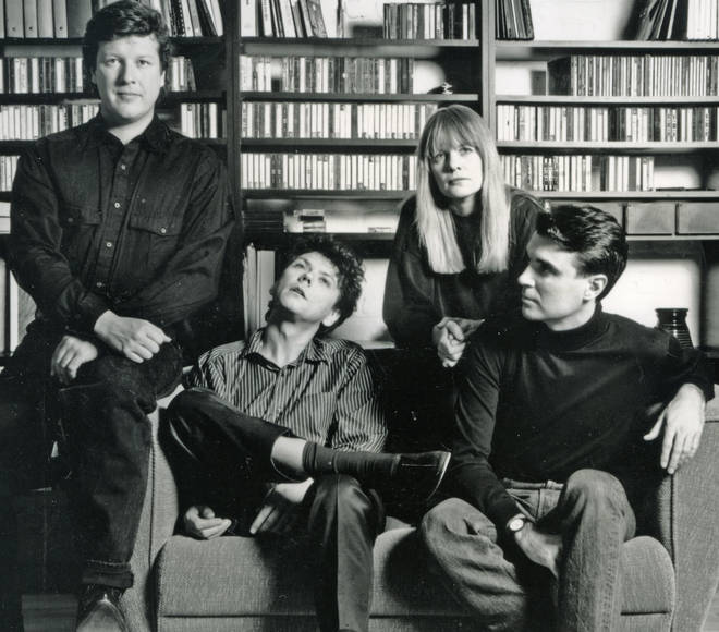 Talking Heads in 1988: Chris Frantz, Jerry Harrison, Tina Weymouth, David Byrne
