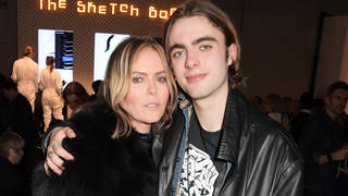 Lennon Gallagher and his mother Patsy Kensit attend 'Hermes: Step Into The Frame' at Nine Elms in March, 2019