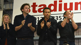 Ryan Reynolds and Rob McElhenney watch Maidenhead Utd v Wrexham