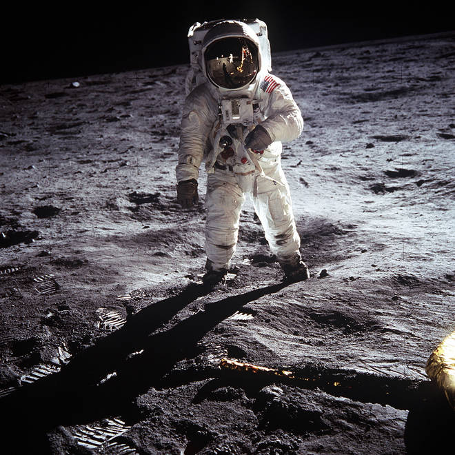 Buzz Aldrin walks on the moon, 20 July 1969