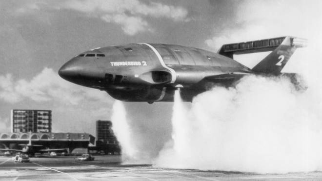 Thunderbird 2 takes off from Tracy Island