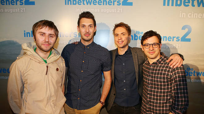 James Buckley, Blake Harrison, Joe Thomas and Simon Bird pose at the Queensland Premier of The Inbetweeners 2 in 2014 in Gold Coast, Australia