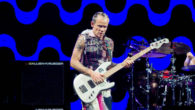 Red Hot Chili Peppers' Flea performs at Lollapalooza 2018