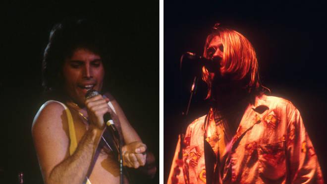 The late Queen frontman Freddie Mercury and the late Nirvana frontman Kurt Cobain