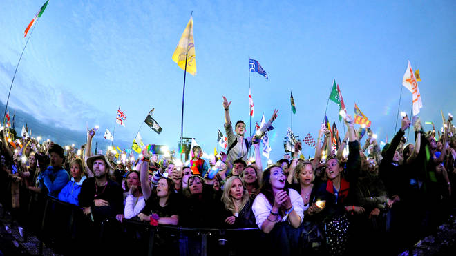 Fans watch Ed Sheeran perform on the Pyramid Stage during Glastonbury 2019