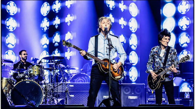The Beatles Paul McCartney, Ringo Starr perform Get Back with The Rolling Stones' Ronnie Wood at The O2, London in December 2018