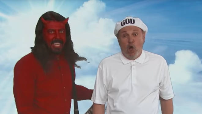 Dave Grohl plays Satan alongside Billy Crystal as God on Jimmy Kimmel Live
