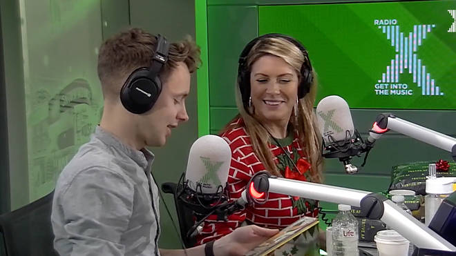James and Pippa open Christmas presents on The Chris Moyles Show