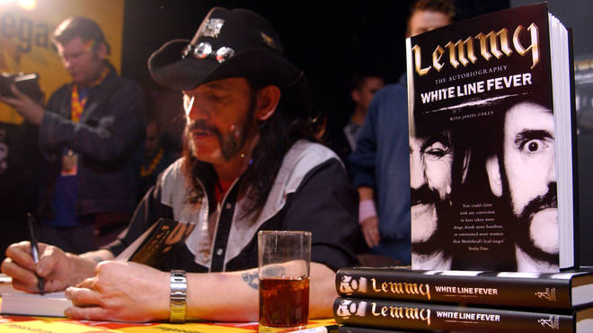 Lemmy from Motorhead at Virgin Megastore on London's Oxford Street to sign copies of his White Line Fever biography in 2002.