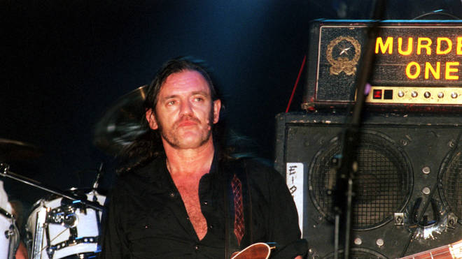 Lemmy performs on stage at Stoke Park at 2000