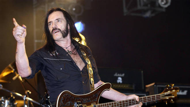 Lemmy performs with Motörhead on stage at the Carling Hammersmith Apollo in 2003
