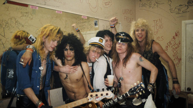 Guns N' Roses in 1986: Duff McKagan, Slash, Izzy Stradlin, Axl Rose and Steven Adler