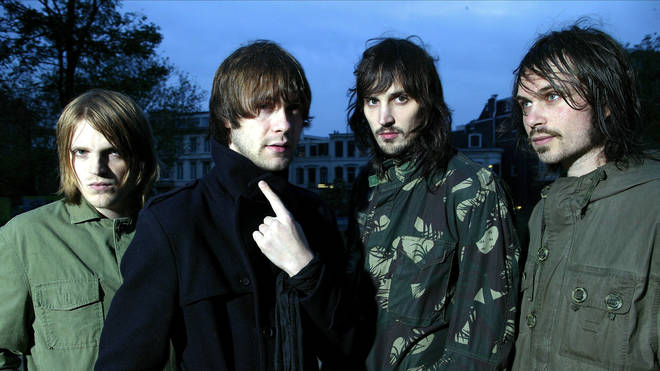 Kasabian in 2004: Chris Edwards, Tom Meighan, Sergio Pizzorno, Christopher Karloff